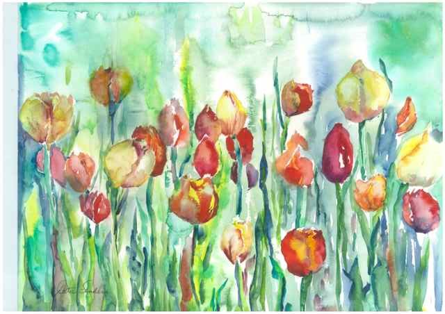 Tulips on Green