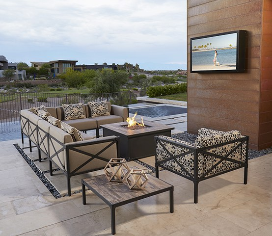 "Creighton contemporary wrought iron cushion sectional with 42"" square propane firepit."