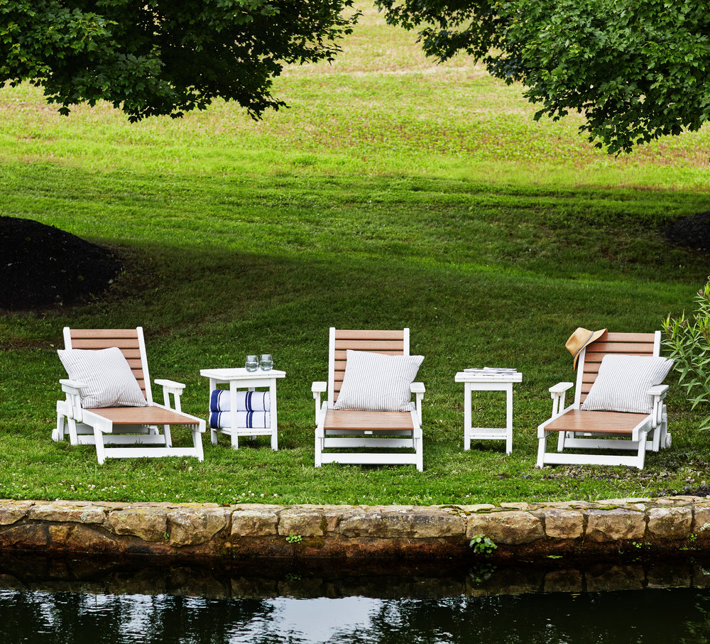 Sun chaiser lounge chairs in white & cedar also available with custom cushions.