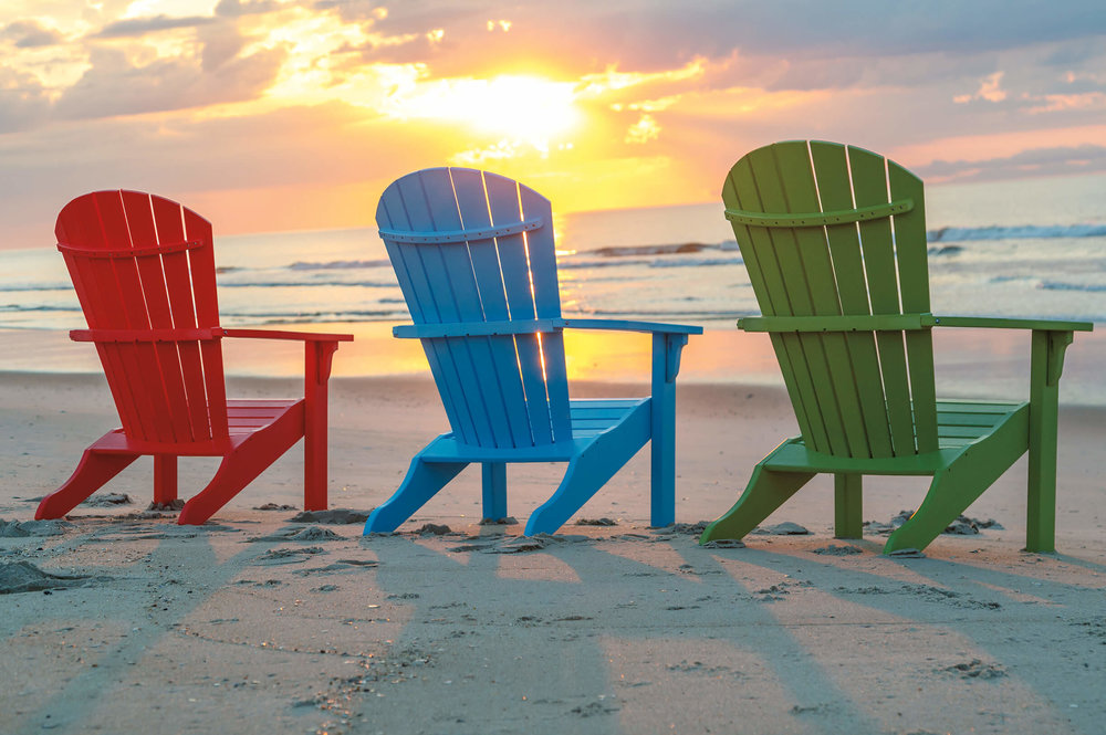 Beautiful Adirondack style chairs in a wide variety of colors and designs, made from recycled material. Perfect for beach, lake, or areas with rough weather or sun.