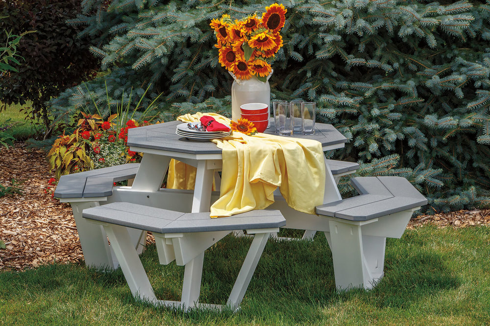 Beautiful picnic tables in a wide variety of colors and designs, made from recycled material. Perfect for beach, lake, or areas with rough weather or sun.