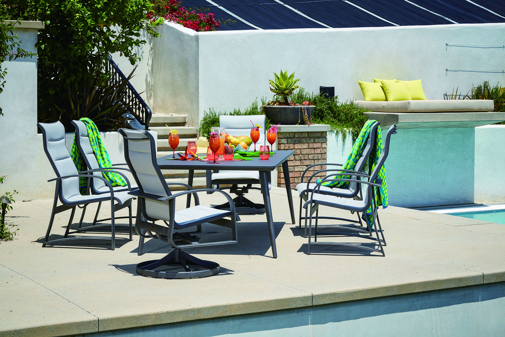 The Martinique powder coated sling collection has bold, clean lines and will work well in any outdoor setting.