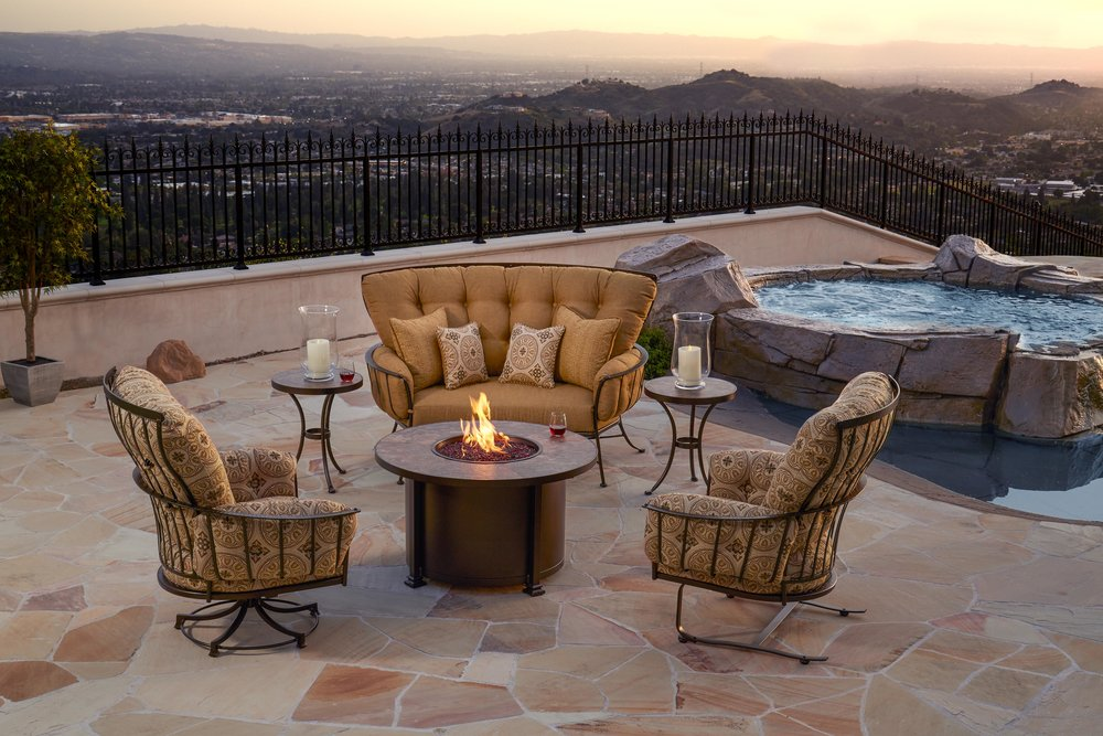 """Monterra Crescent Sofa and swivel rocker lounge chair & spring rocker lounger chair with 42"""" firepit. All pieces are customizable."""
