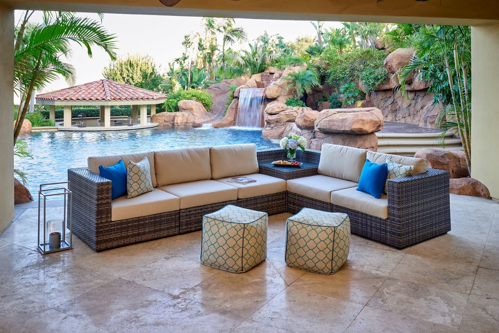 Regent collection, all-weather wicker patio furniture marked by a luxurious sensibility and a beautiful, cozy-yet-modern aesthetic.