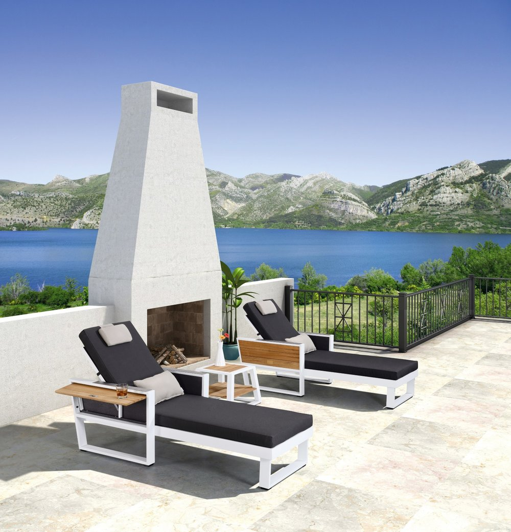 St. Lucia Cushion Chaise with teak top end table.