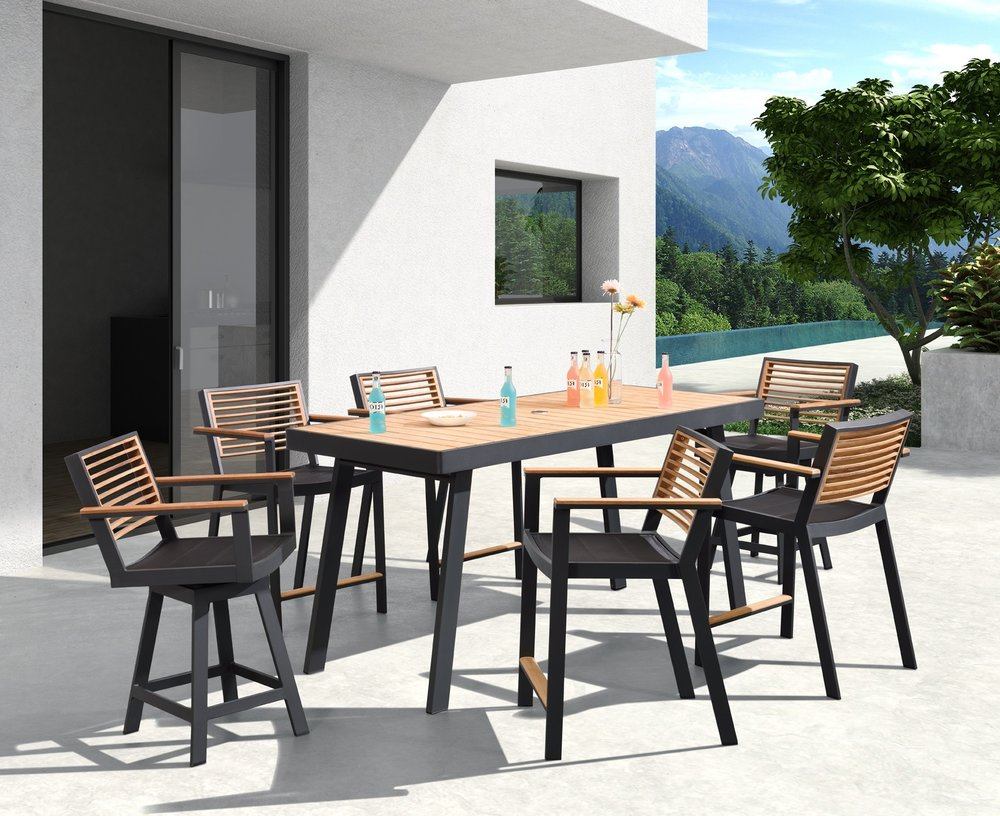 St. Lucia Counter Height powder coated aluminum frame swivel and non-swivel chairs with teak back and arms. Table is counter height with teak top and powder coated aluminum rectangle frame.