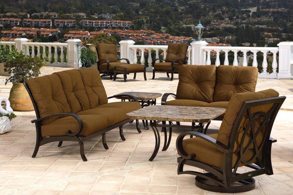 Salisbury sofa, loveseat glider and swivel rocker lounge chair.