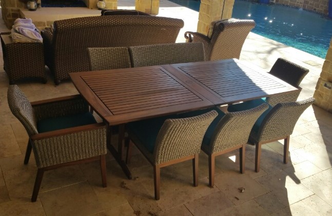 Coral Dining Set with seating for 8. Bunbury Table with 4 Coral Side Chairs, 1 Coral Bench and 2 Arm Chairs. Table and chairs are weather resistant and low maintenance.
