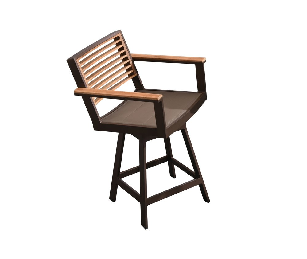 St. Lucia Counter Height Swivel Chair with teak back and arms