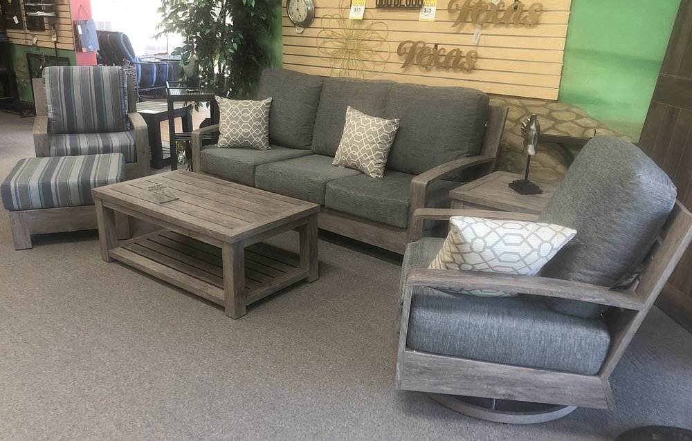 Seattle Deep Seating Set Sofa Swivels Ottoman Coffee Table and End Table in the Salvage Lumber Finish