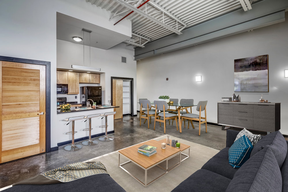 Open Living Space - Featuring open floor plans, hardwood or polished concrete flooring and high end fixtures.
