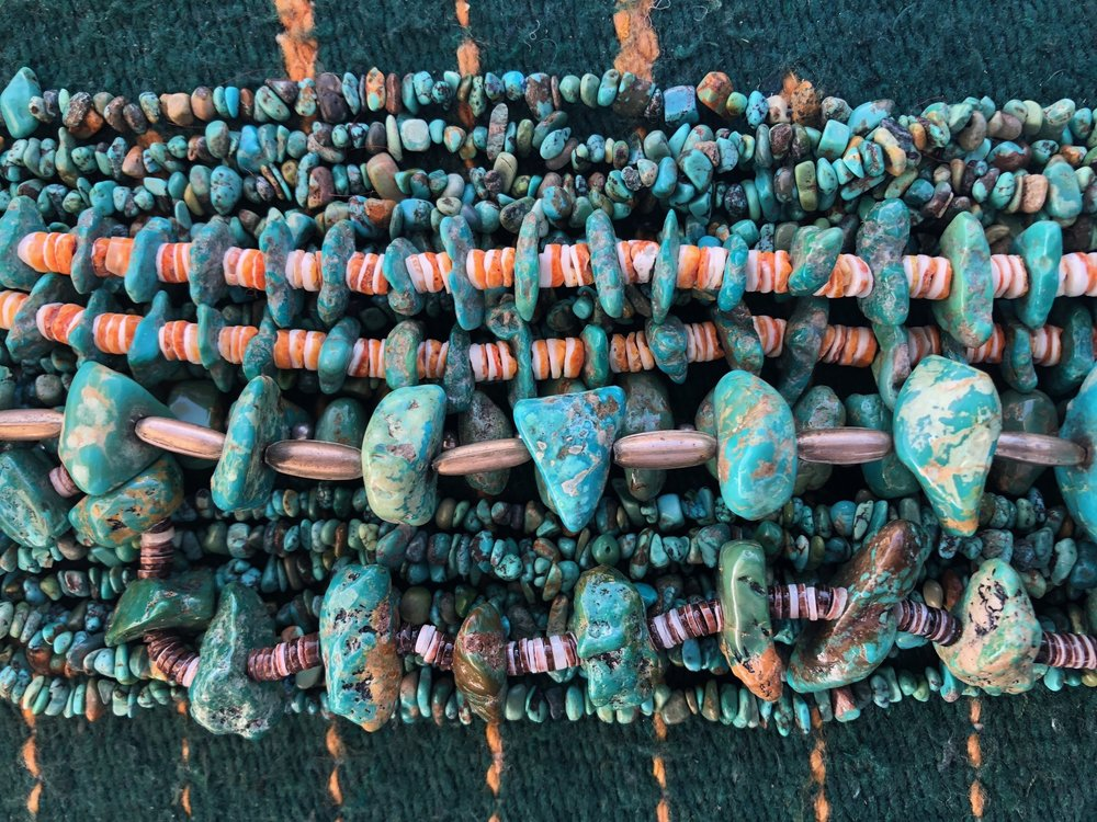 Selection of turquoise nugget necklaces.