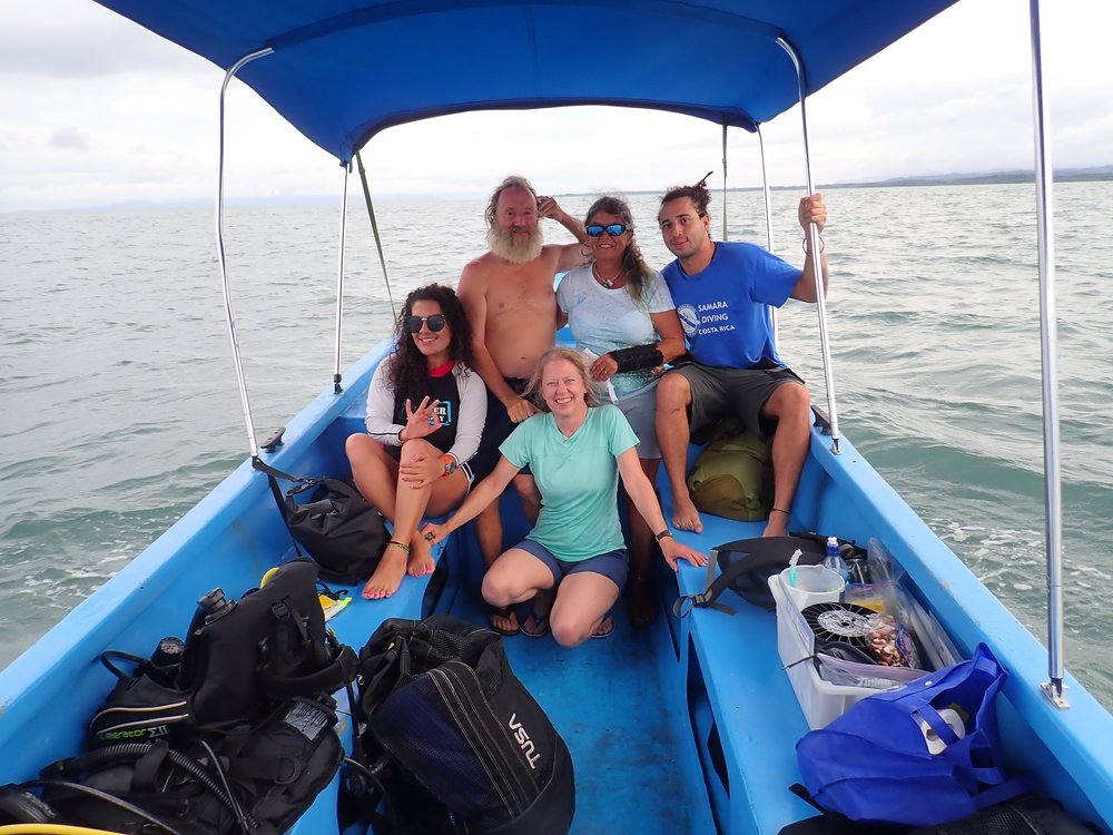 """A few members of the Raising Coral team heading out to work at a restoration site. Tatiana Villalobos, David Vaughan, Donna Vaughan, José Andrés Marín, Joanie Kleypas (in front)"""
