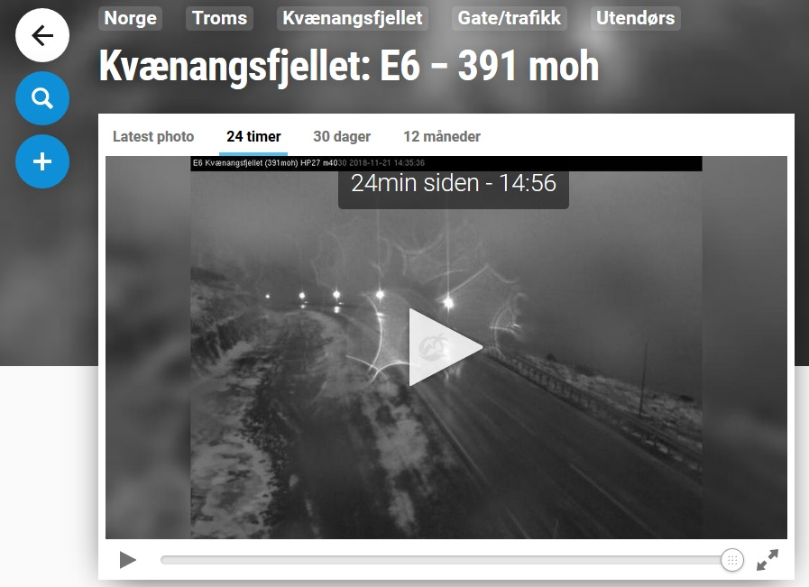 Click image for live webcam from Kvænangsfjellet, our closest mountain pass on E6 to the south