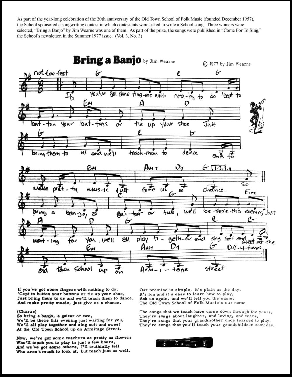 """Sheet music of """"Bring a Banjo"""" by Jim Wearne in 1977."""