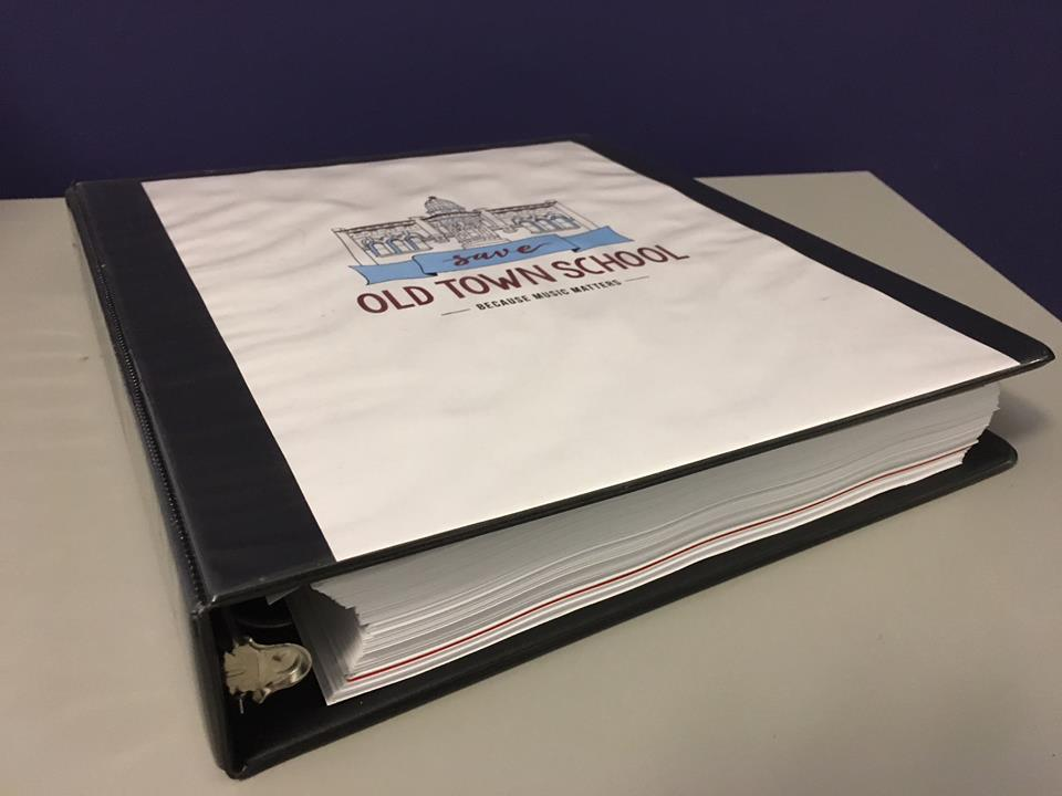 This is what a petition signed by 6,300 people looks like when printed out and placed in a binder! Save Old Town School representatives presented it to members of the Old Town School of Folk Music Board of Directors on Wednesday night, November 7th, along with our request that the proposed sale of 909 W. Armitage be put on hold until the School's community is given more information about the sale and has an opportunity to provide input.