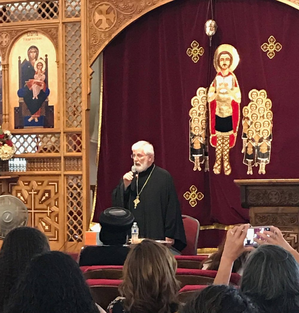 Very Rev. Father George Dragas, of the Greek Orthodox Church, giving a lecture on St. Athanasius on one of his many visits to ACTS.