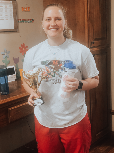 Andrea, CNA Pearl House - 1st Place Winner! Andrea won a water bottle full of her favorite candy, Cherry Mash, and a gift card to the Warren Theater.
