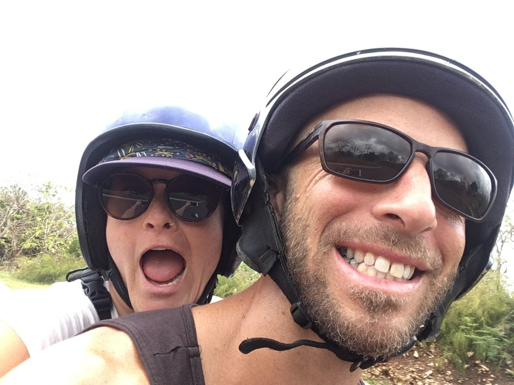 Greg's first time with Casey on his scooter. Uluwatu, Bali, Indonesia