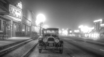 Downtown Mansfield, on a foggy night of yesteryear.