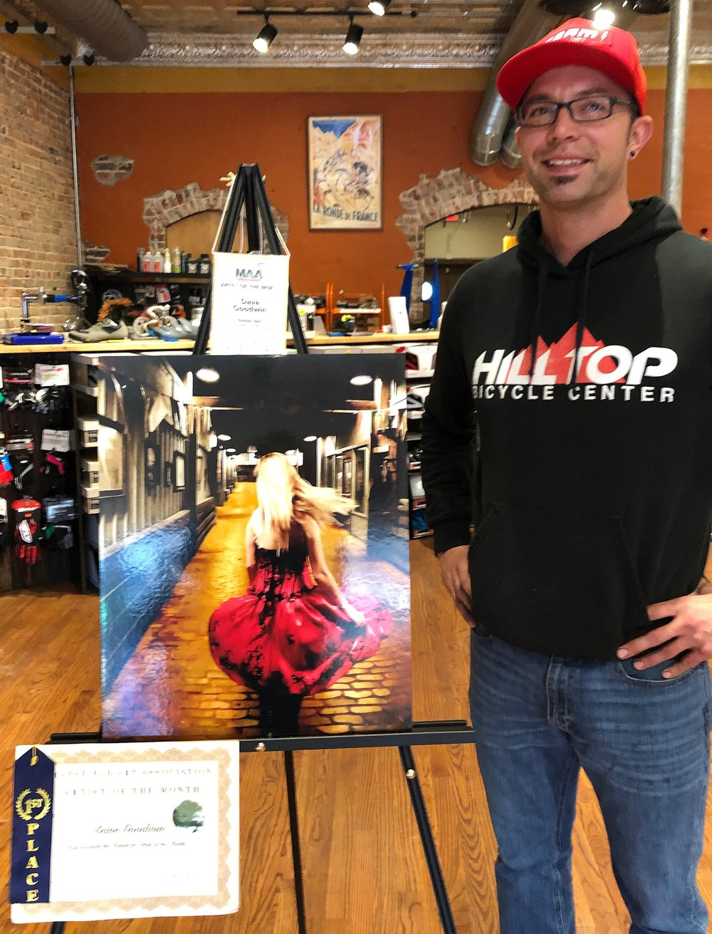 Many thanks go out to owner Jeff Delavega of Hilltop Bicycle Center for displaying winning MAA art in his business! His shop is located right on Main Street in Historic Downtown Mansfield.