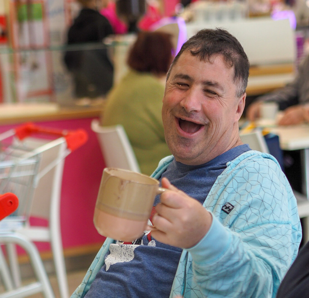 Picture of man with coffee mug