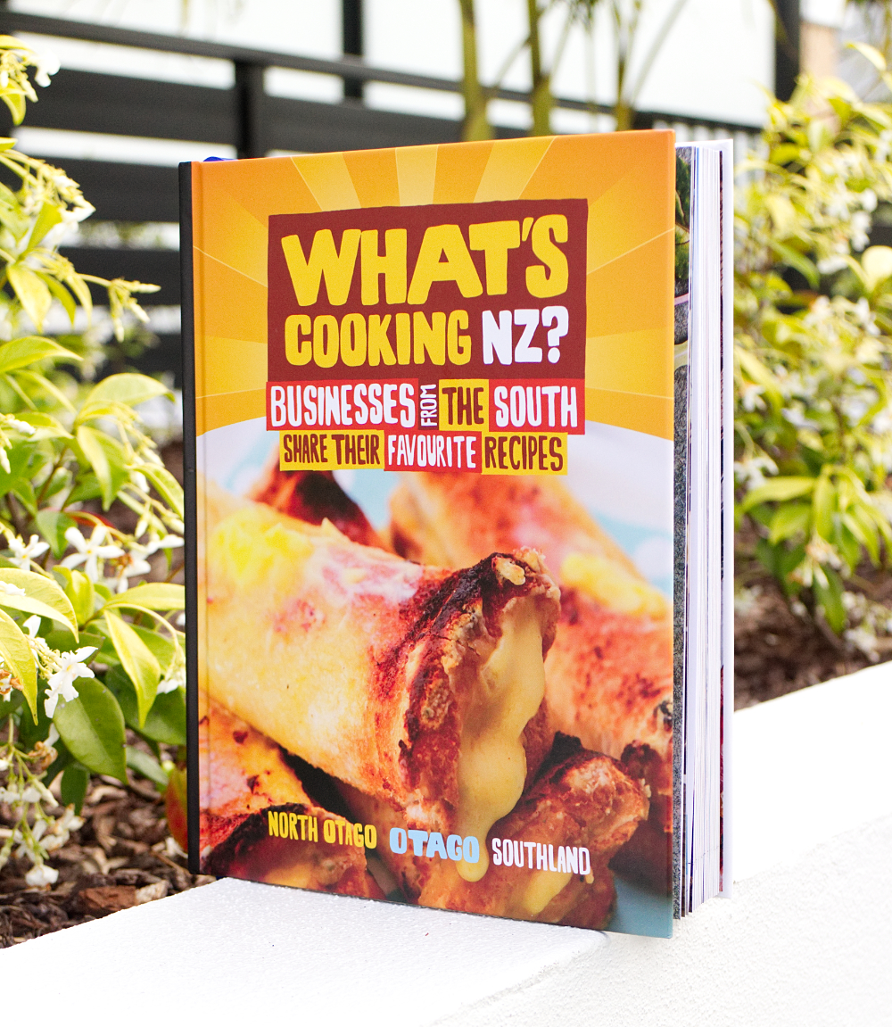 What's Cooking NZ – Otago & Southland - We invited 70 North Otago, Otago and Southland businesses to feature in our 4th business directory cookbook. It also features custom artwork by Dunedin artist Frank Gordon on the back cover.(Published November 2018)
