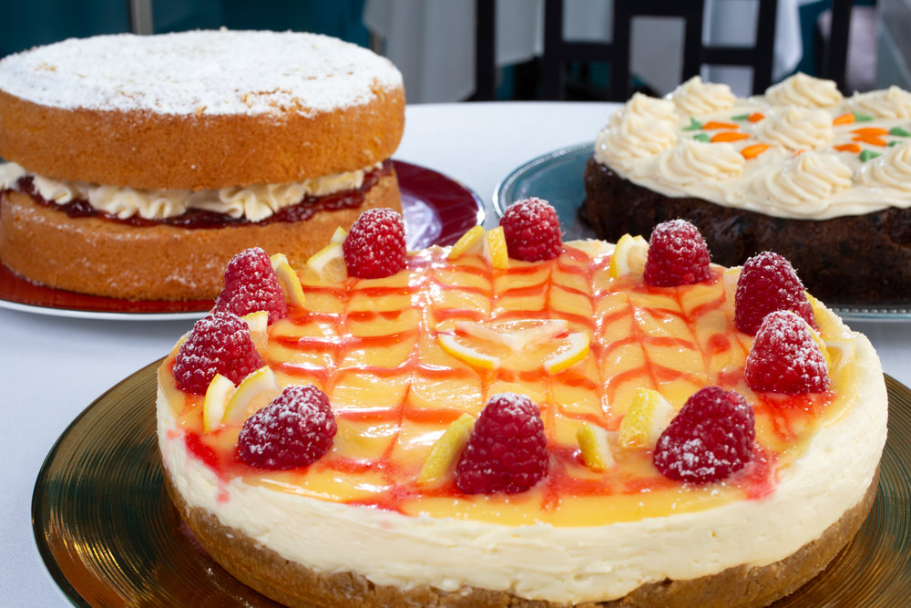 Large cakes landscape carrot , victoria and cheesecake close up 3.JPG