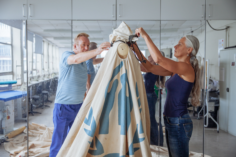 Helen and Mark working on the dress 2015