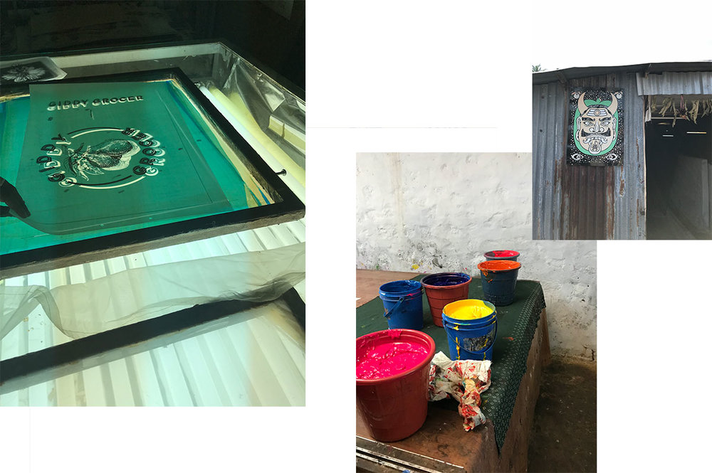 From left to right: The screen after it had the final design has been transferred by exposing light onto a photo sensitive emulsion on the screen through a stencil; screen printing inks ready for use; entrance to the screenprinting unit.