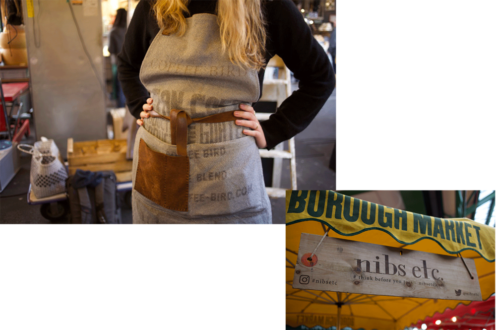 nibs etc. at Borough market. All materials for the stand as well as the aprons are made from reclaimed materials. The sign and table are wooden planks from an old barn door and the apron used to be a sack for coffeebeans.