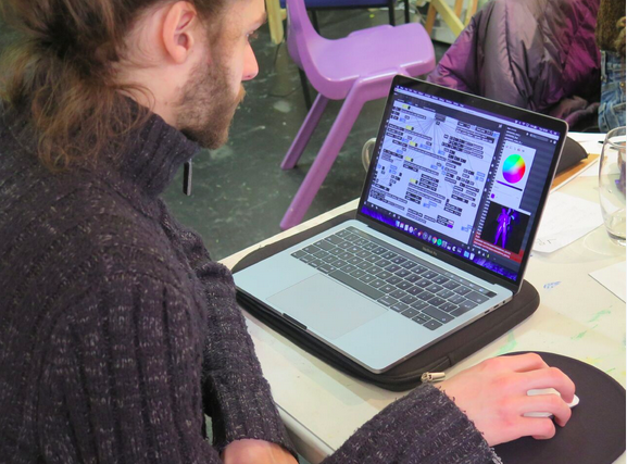 Using various computer programmes and sharing skills with the others. Photo by James Pollitt