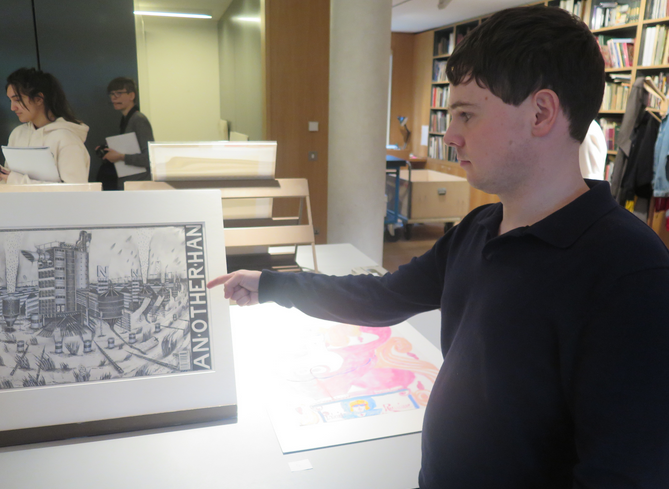 Andy admiring the HIPKISS drawing at the Whitworth