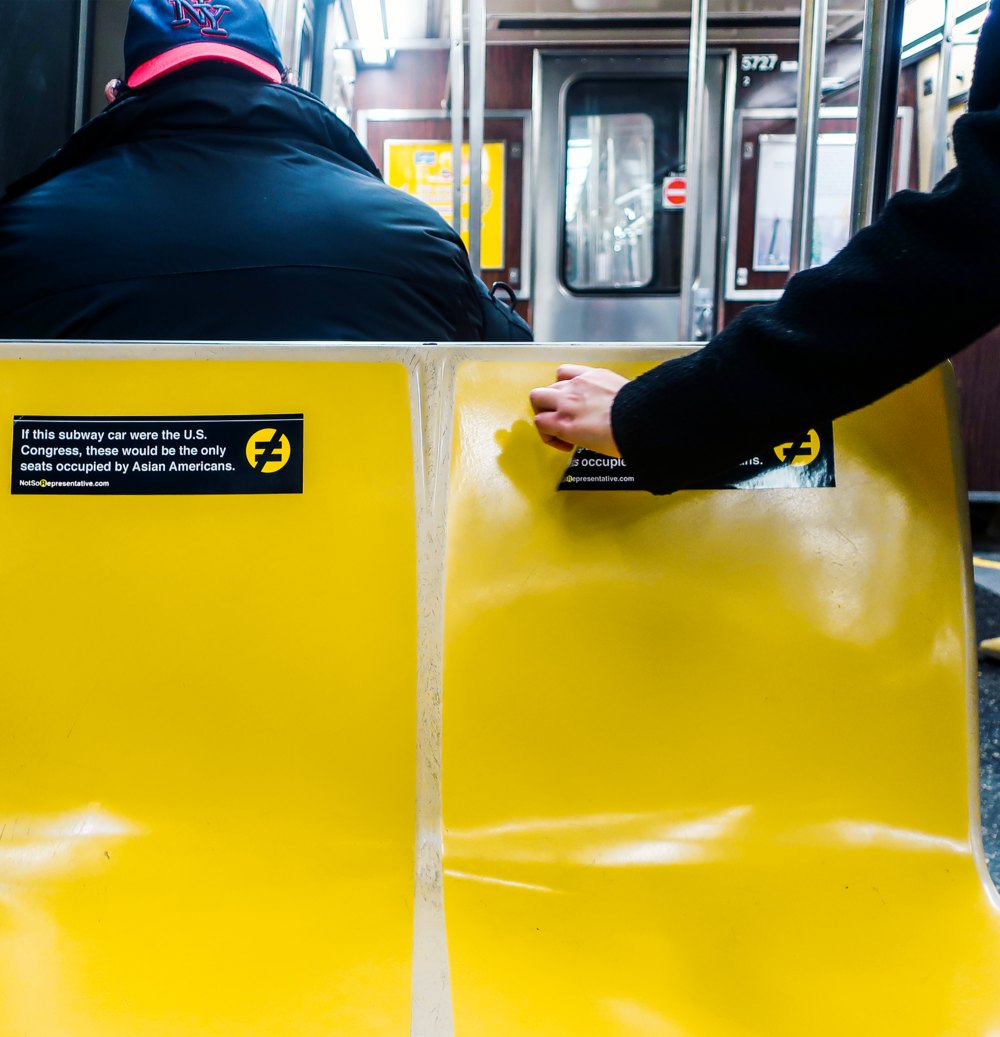 Our Seats - The U.S. Congress has 535 seats, with 435 representatives and 100 senators.We placed stickers on the R train, part of the NYC public transportation system. It runs from Queens to Brooklyn, going through Manhattan, and it's one of the city's most diverse subway lines.