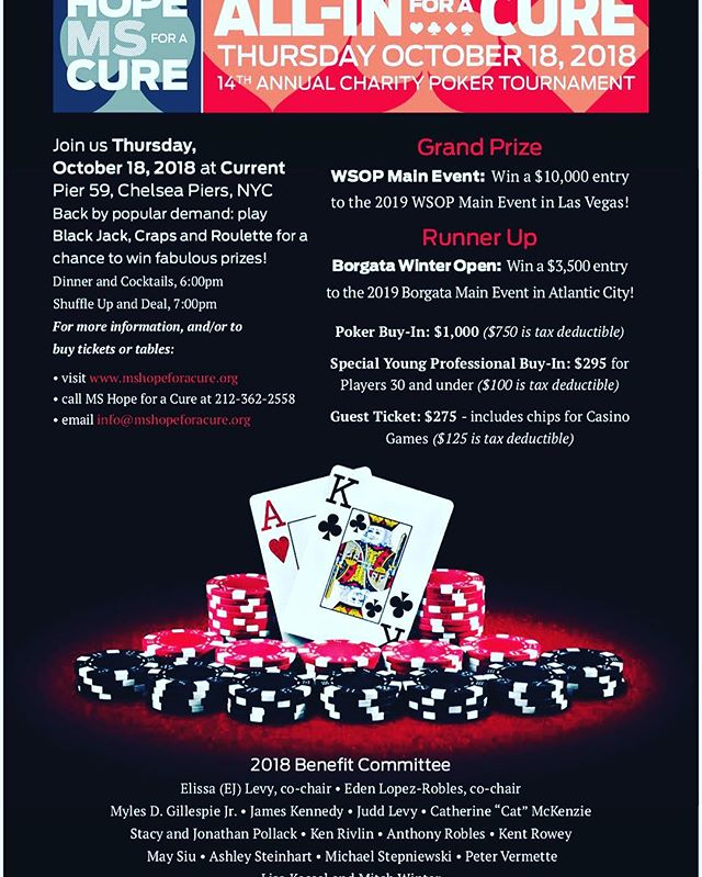 Come join us on 10/18 for a Poker Charity Tournament benefitting MS Hope for a Cure.  The Foundation's work has literally saved and touched many lives.  @mshopeforacure @pokerforgood #pokerforgood #mshopeforacure #pokercharitytournament #pokerisfun #nycpoker