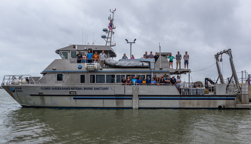 The 2017 Marine Geology & Geophysics Field Course students and instructors aboard the NOAA vessel used for the week's field work (Galveston, TX)