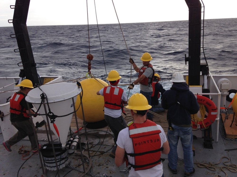 Deploying the sediment trap aboard the  R/V Point Sur.