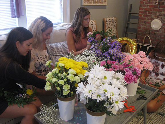 The ladies working away...