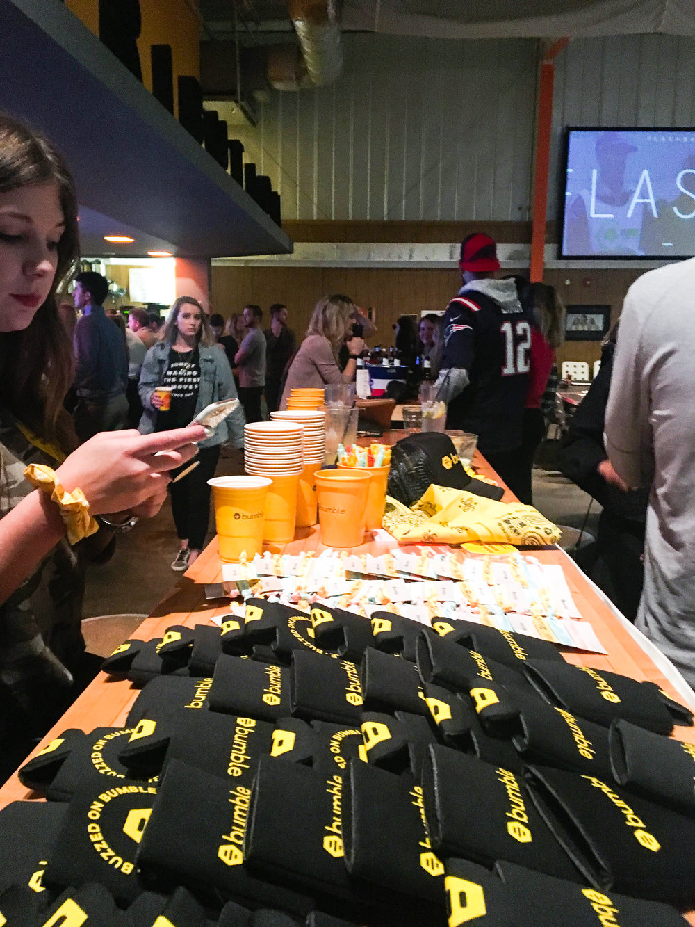 Our bumble Super BOWL party was a huge hit! 💛 - Lots of koozies, hair ties, cups, and hats were handed out to Bumble users! PLUS one free drink on us when you showed your downloaded app.