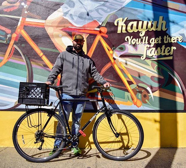 Another new bike day! Shout-out to our neighbor Rob for coming by to pick up a new @surlybikes Cross Check! If you're looking for a comfy urban explorer, the Cross Check is a match for you. #kayuhbicycles #kayuhcafe #kayuhcrew