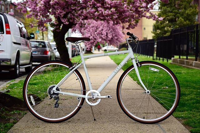 Spring is here in full bloom! Featured is a beautiful Civia Venue in the 1x8 gearing option.  Get $10 off a new Civia for whoever can guess where this photo was taken! DM your answer please! #kayuhbicycles #kayuhcafe #northphilly #philadelphia