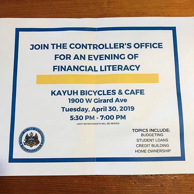 ❕❕JOIN US❕❕Thursday  April 30, 2019. 5:30 PM - 7:00 PM Topics includes: •Budgeting •Student Loans •Credit Building •Home Ownership #finacialliteracy #kayuhbicycles