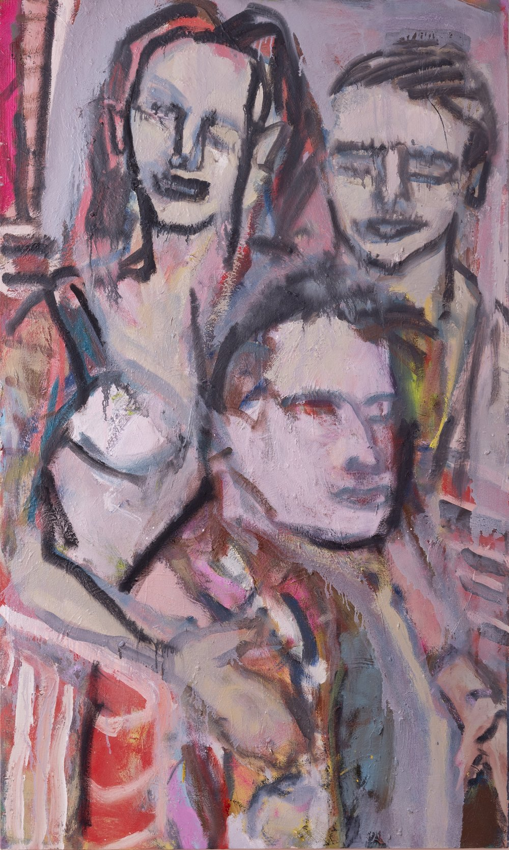 """Two Generations, Loving and Caring, Oil and Mixed Media, 36""""x48"""""""