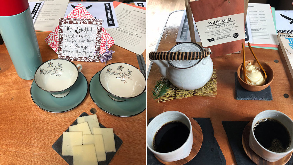Left: Bone broth and Wagon Wheel. Right: Coffee and Winnimere. Photos by Lauren Savoie.