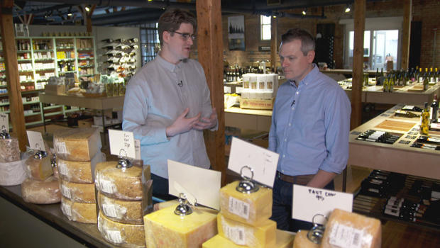Cheesemonger Rory Stamp with Luke Burbank at Dedalus Wine Shop, Market & Wine Bar in Burlington, Vt. CBS News