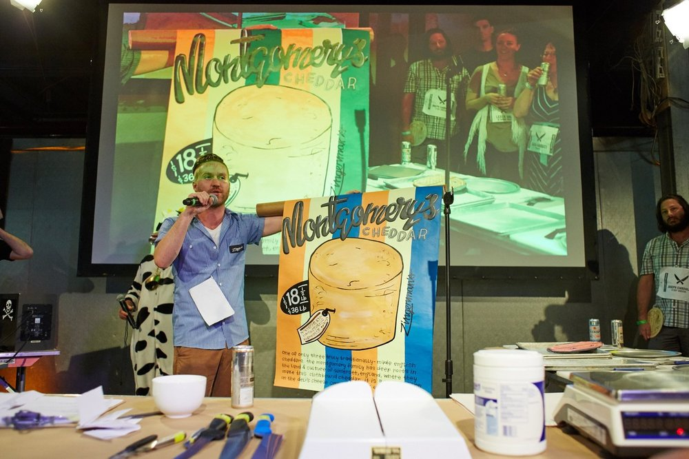 Steven Hall from Zingerman's Deli in Ann Arbor, Mich., talks about his favorite cheese at the Cheesemonger Invitational.  STEVE REMICH FOR THE WALL STREET JOURNAL