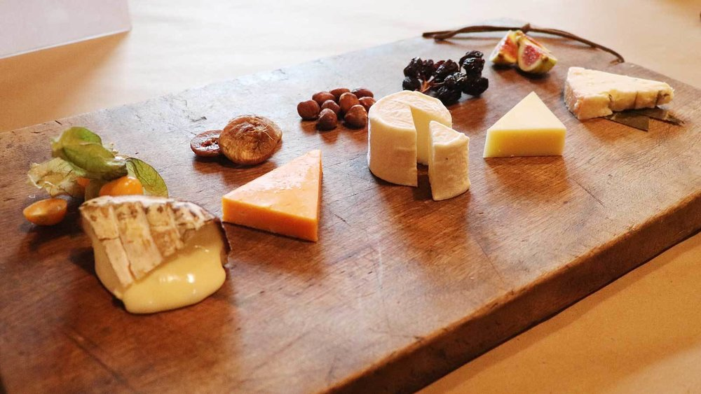 Matt Rubiner's minimalist cheeseboard, starring Harbison, Red Leicester, Bijou, Lancashire and Rogue River Blue, drew high marks. Photograph: Robert Taylor