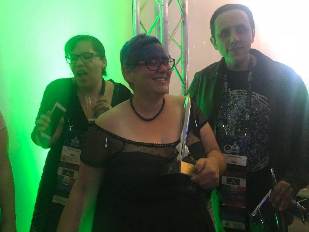 Raquel Castro, Julia Rios, and Alberto Chimal at the Hugo Losers Party
