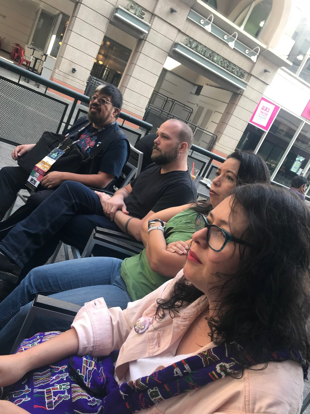 Libia Brenda, Felecia Caton Garcia, Pablo Defendini, and José Luis Zarate during coffee with the anthology Kickstarter backers