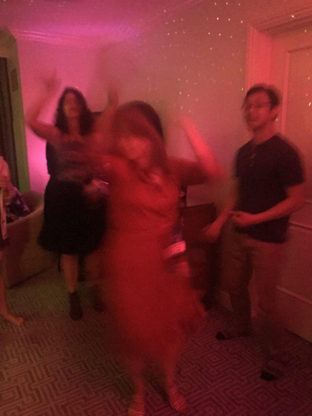 Blurry partiers: Gerardo Horacio Porcayo, Patty Garcia, Kirtana Rex, Héctor Gonzalez, Gabriela Damián, Libia Brinda, and Adrea Chapela at the Locus party on Saturday night at Worldcon 76